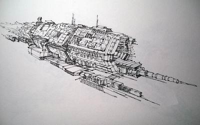 手绘台风级战列舰