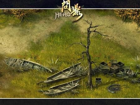 枯树破墙风景速写