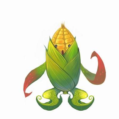 玉米加农炮的手绘图片